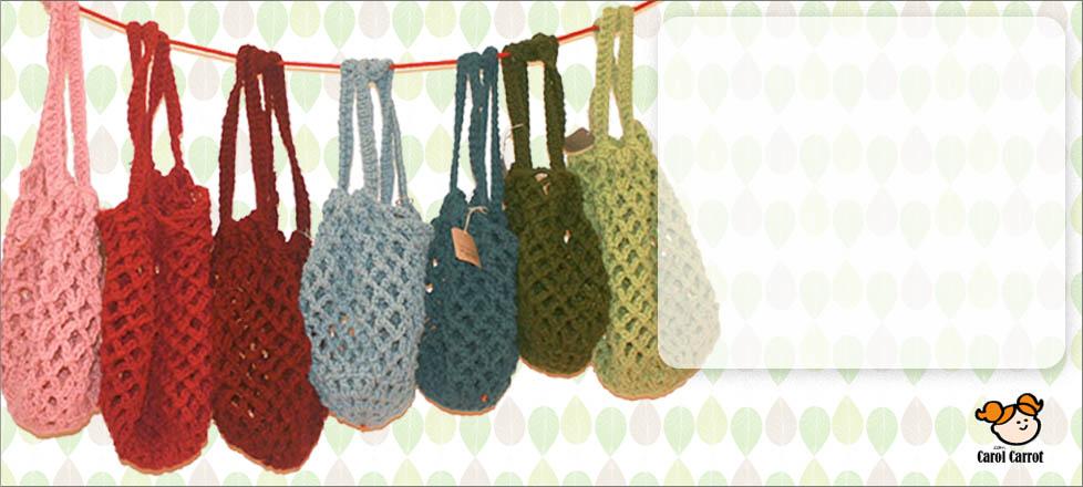 Bolsos de lana tejidos a mano